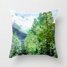 Mountain Forest Throw Pillow