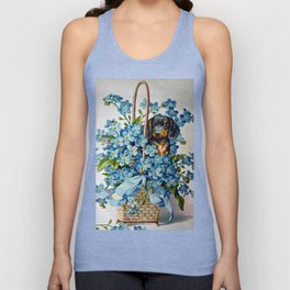 Dachshund and Forget-Me-Nots Unisex Tank Top