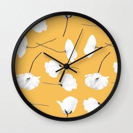 Poppies on mustard Wall Clock