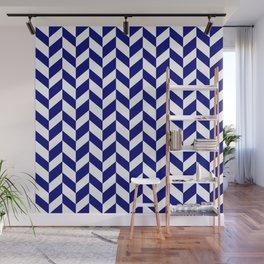 Herringbone Texture (Navy Blue & White) Wall Mural