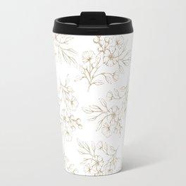 Shabby vintage pastel brown white elegant floral Travel Mug
