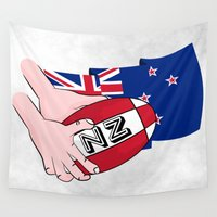 new zealand Wall Tapestries featuring Rugby Ball New Zealand by mailboxdisco