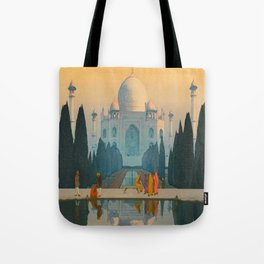 Morning Mist in Taj Mahal Vintage Beautiful Japanese Woodblock Print Hiroshi Yoshida Tote Bag