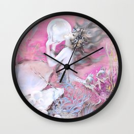 Mermaid With Pearl Pink Wall Clock