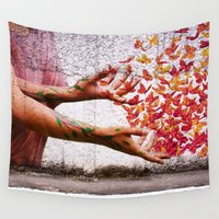 butterflies Wall Tapestries featuring Butterflies by Lia Bernini