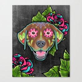 Labrador Retriever - Chocolate Lab - Day of the Dead Sugar Skull Dog Canvas Print