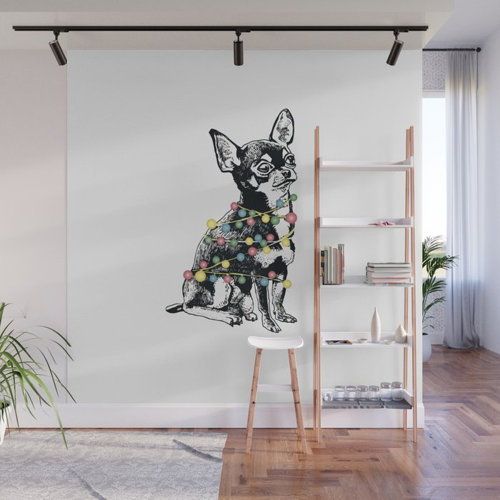 Chihuahua dog with colorful festoon Wall Mural