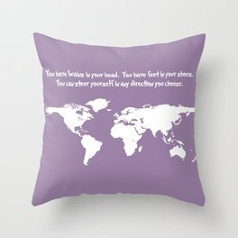 World Map with Dr. Seuss Quote Throw Pillow