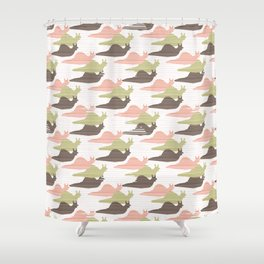 Pink and Green Snail Race Silhouette Seamless Shower Curtain