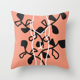 Standing nude with butterfly leaves Throw Pillow