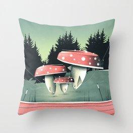 Fishing for Mushrooms Throw Pillow