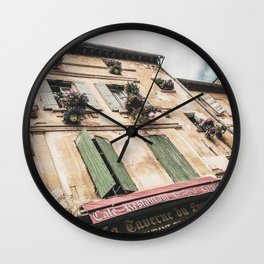 French Cafe | Colorful Pizzeria Creperie Restaurant Red Awning Old Building Architecture Wall Clock