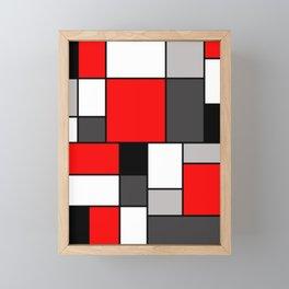 Red Black and Grey squares Framed Mini Art Print