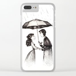 lovers under the rain Clear iPhone Case