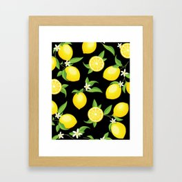 You're the Zest - Lemons on Black Framed Art Print