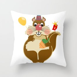 Mr Squirrel Throw Pillow