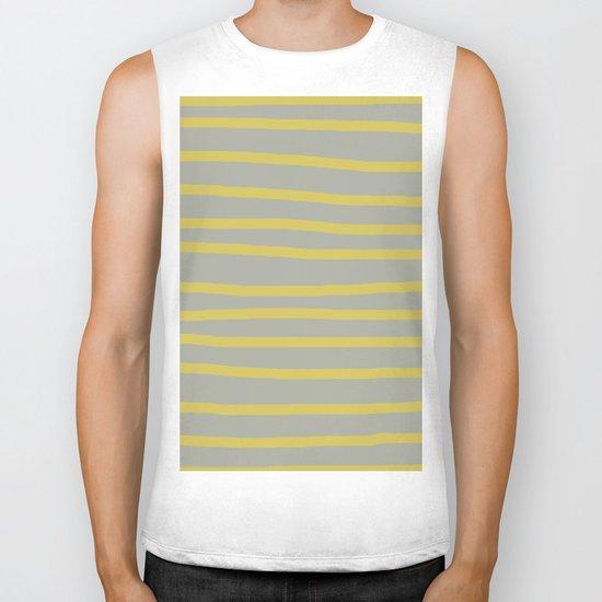 Simply Drawn Stripes in Mod Yellow Retro Gray Biker Tank