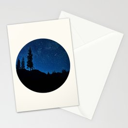 Mid Century Modern Round Circle Photo Blue Star Night Sky Pine Tree Silhouette Stationery Cards