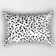 Nadia - Black and White, Animal Print, Dalmatian Spot, Spots, Dots, BW Rectangular Pillow