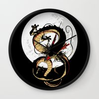 dragon ball Wall Clocks featuring Black Dragon by TxzDesign
