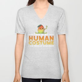 This Is My Human Costume I'm Really A Mango Funny Halloween Unisex V-Neck