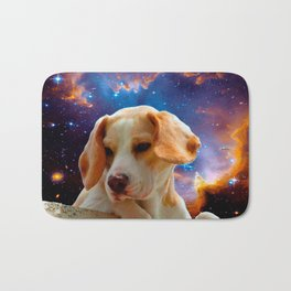 beagle puppy on the wall looking at the universe Bath Mat