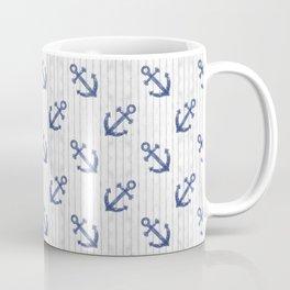 Navy Blue Anchor Pattern Coffee Mug