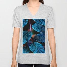 Peacock Blue Leaves Nature Background #decor #society6 #buyart Unisex V-Neck