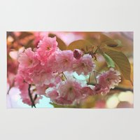 cherry blossoms Area & Throw Rugs featuring Cherry Blossoms by Judy Palkimas