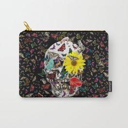 Skull Flowers Animals on Black | Butterflies Carry-All Pouch