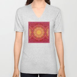 Love Will Find A Way -- Kaleidescope Mandala in the colors of Love Unisex V-Neck