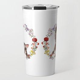 Sugar Glider in Flower Wreath Travel Mug