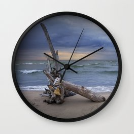Sunrise on the Beach with Driftwood at Oscoda Michigan Wall Clock