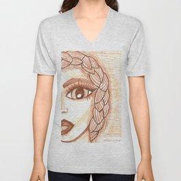 Girl with braid Unisex V-Neck