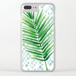 Tropical Palm Frond Watercolor Painting Clear iPhone Case