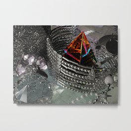 Jewelery and Glass Still Life, Black and White with a Hint of Color Metal Print