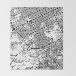Riyadh Map Gray Throw Blanket
