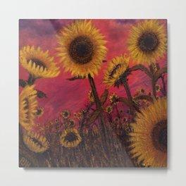 Twilight Sunflowers Metal Print