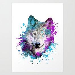 Watercolor wolf wolves head bold artistic painting blue purple violet cyan Art Print