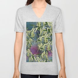 Wattle blooms in an abstract landscape Unisex V-Neck