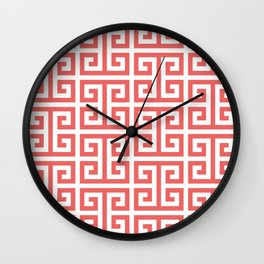 Tropical Coral and White Greek Key Pattern Wall Clock