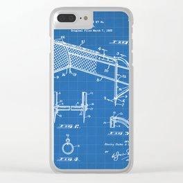 Soccer Patent - Soccer Goal Art - Blueprint Clear iPhone Case