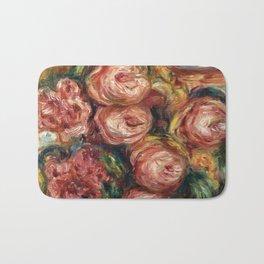 """Auguste Renoir """"Composition aux roses et à la tasse de thé (Composition with roses ...)"""" Bath Mat"""