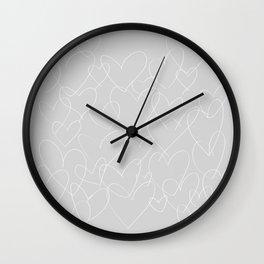 wild hearts grey and white Wall Clock