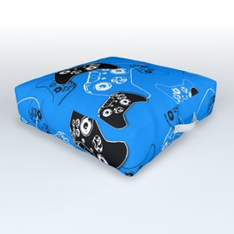 Video Game in Blue Outdoor Floor Cushion