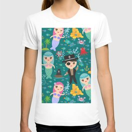 Mermaid with pirate, dark blue sea background T-shirt