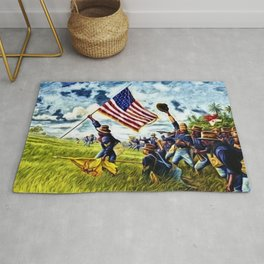 African American 9th Cavalry Buffalo Soldiers 1898 in Cuba, San Juan Hill landscape painting Rug