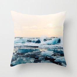 Waves Crashing on the Ice of Diamond Beach, Iceland at Sunset Throw Pillow