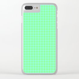 Blue On Green Plaid Clear iPhone Case