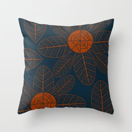 Brown flowers in the dark Throw Pillow